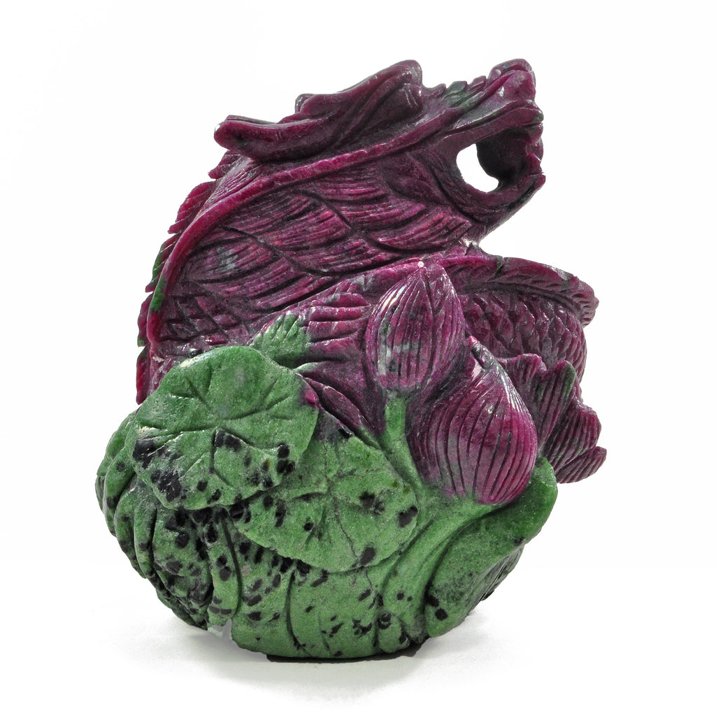 Ruby 4.53 inch 3.2 lbs with Zoisite Natural Crystal Carved Dragon
