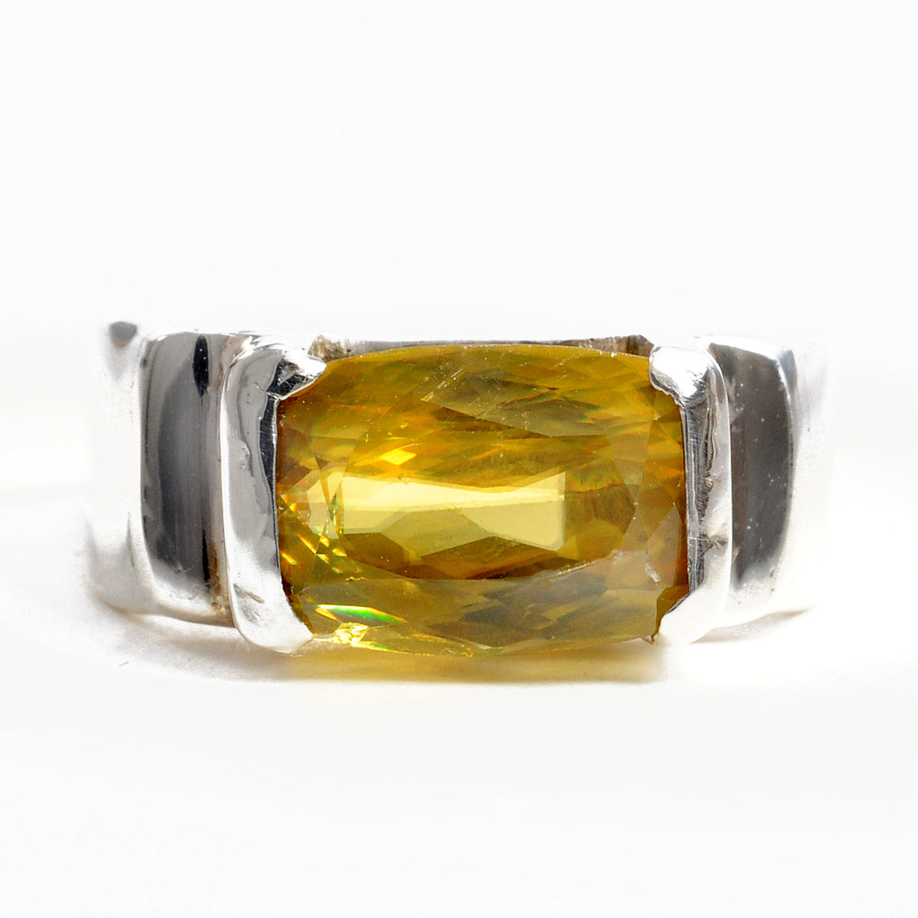 "Sphene ""Titanite"" 9.7 mm 4.33 ct Faceted Rectangle Sterling Silver Handcrafted Gemstone Ring"