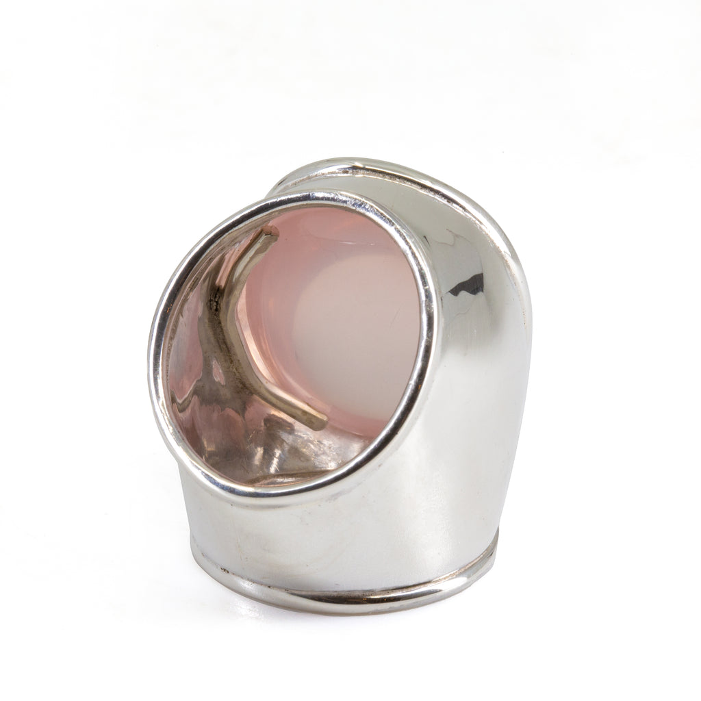 Rose Quartz 76.56ct Cabochon Sterling Silver Handcrafted Ring