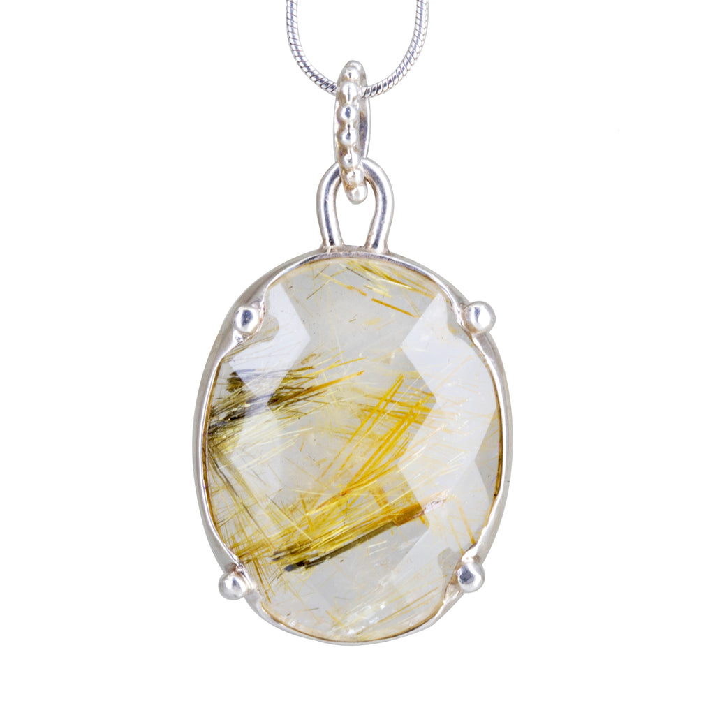 Faceted Rutilated Quartz Crystal 17.52ct Handcrafted Sterling Silver Pendant
