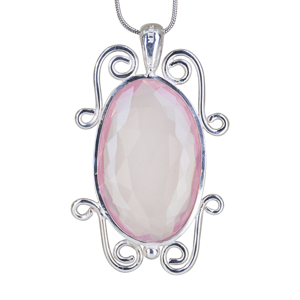 Rose Quartz 23.38 carat Rosecut Handcrafted Sterling Silver Scrollwork Pendant