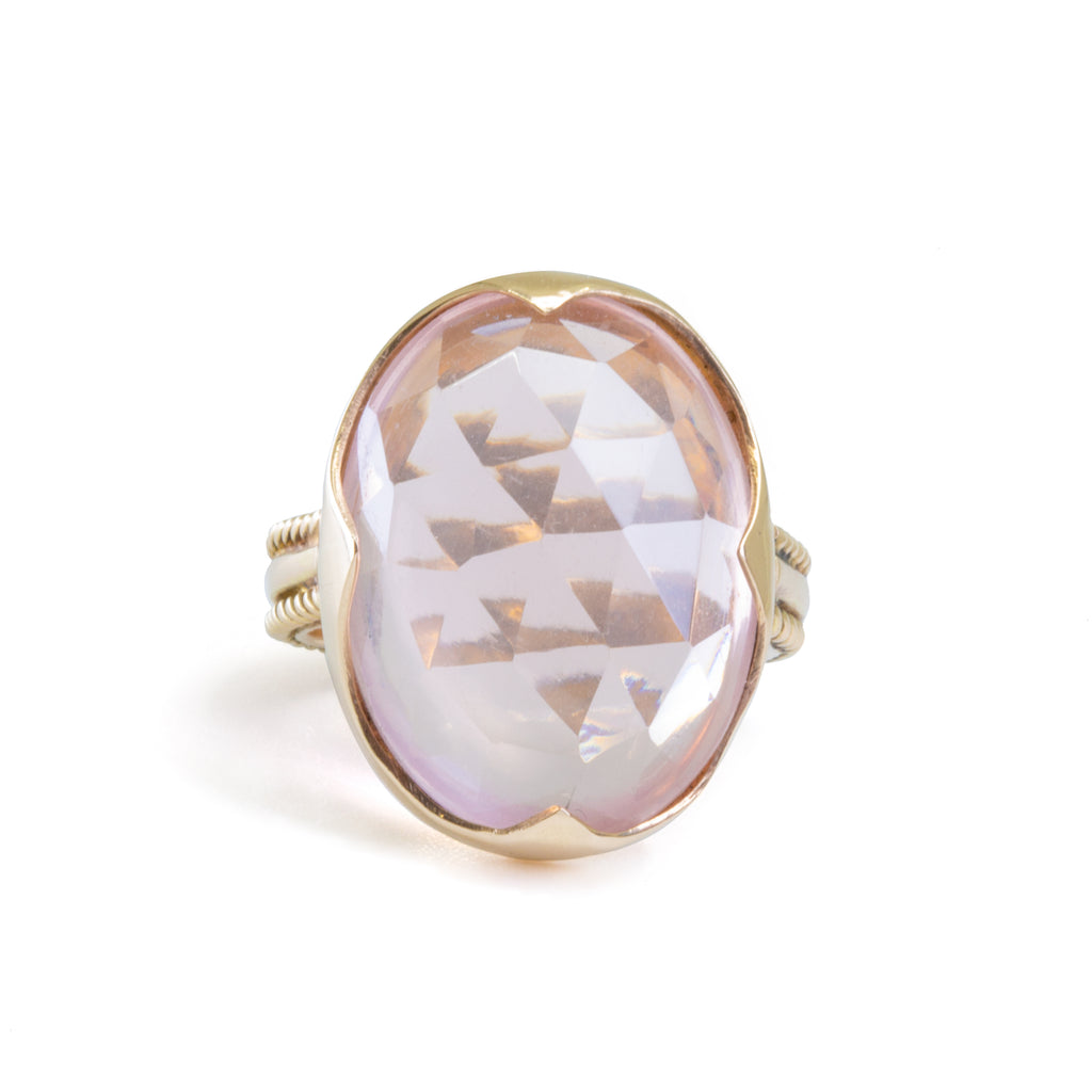 Faceted Rose Quartz 15.84ct Handcrafted 14k Gemstone Ring