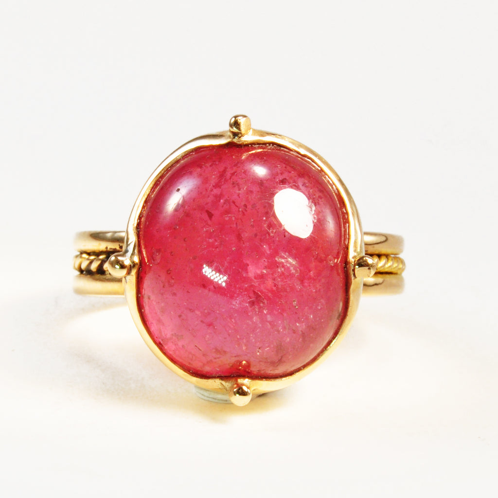 Pink Sapphire 19.75ct Cabochon 14k Gold Handcrafted Ring