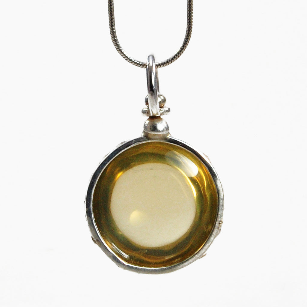 Citrine 18.94ct Round Cabochon Sterling Silver Handcrafted Pendant