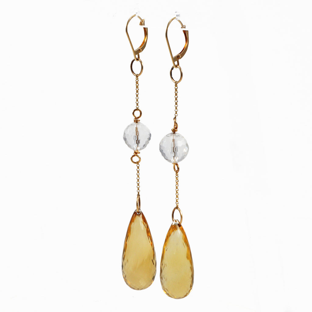 Citrine with Quartz 91.44mm 53.44 ct Faceted Briolette Handcrafted 14K Gemstone Earrings