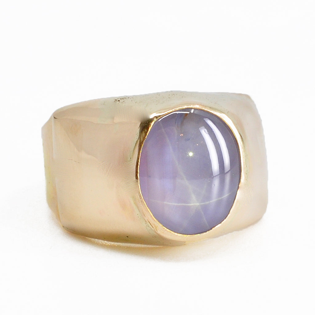 Lavender Star Sapphire 10.71 mm 8.07 ct Oval Cabochon 14K Handcrafted Gemstone Ring