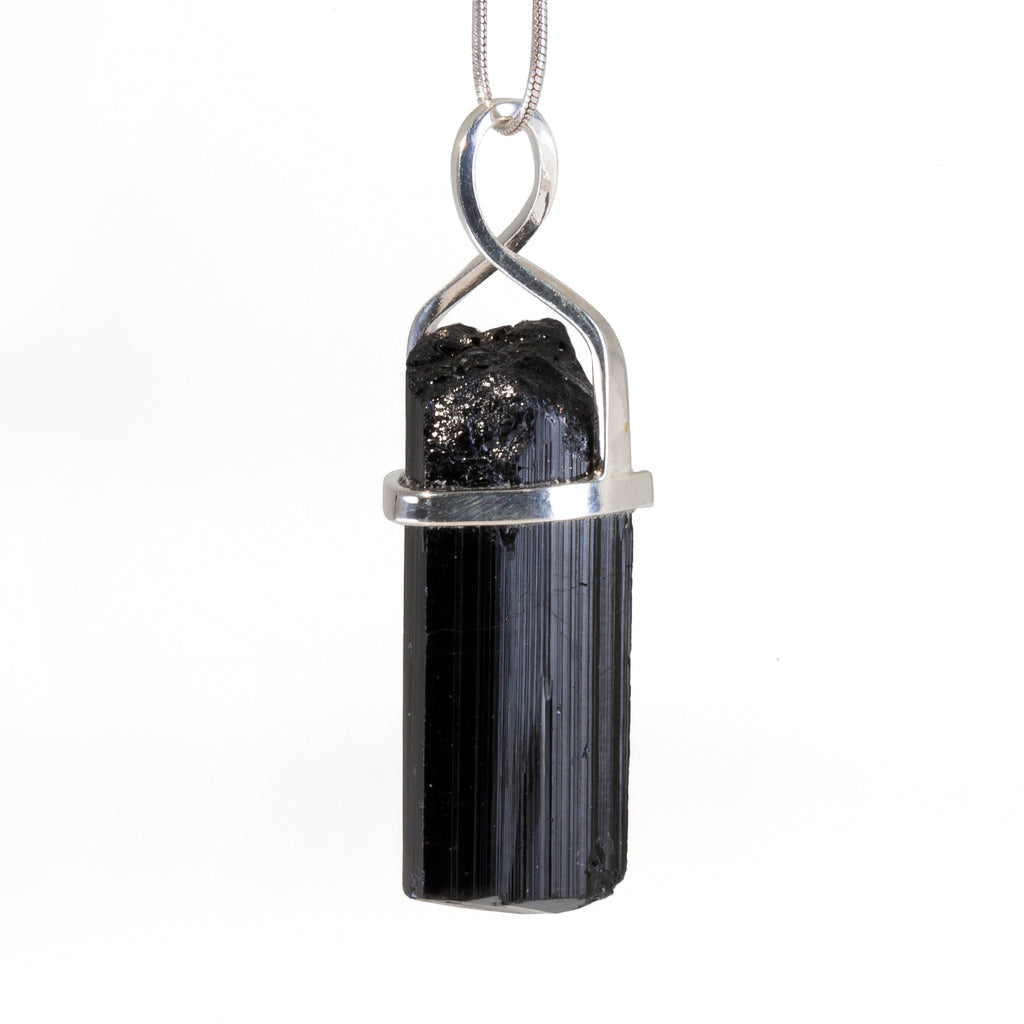 Black Tourmaline 48.18 carat Handcrafted Sterling Silver Natural Crystal Pendant