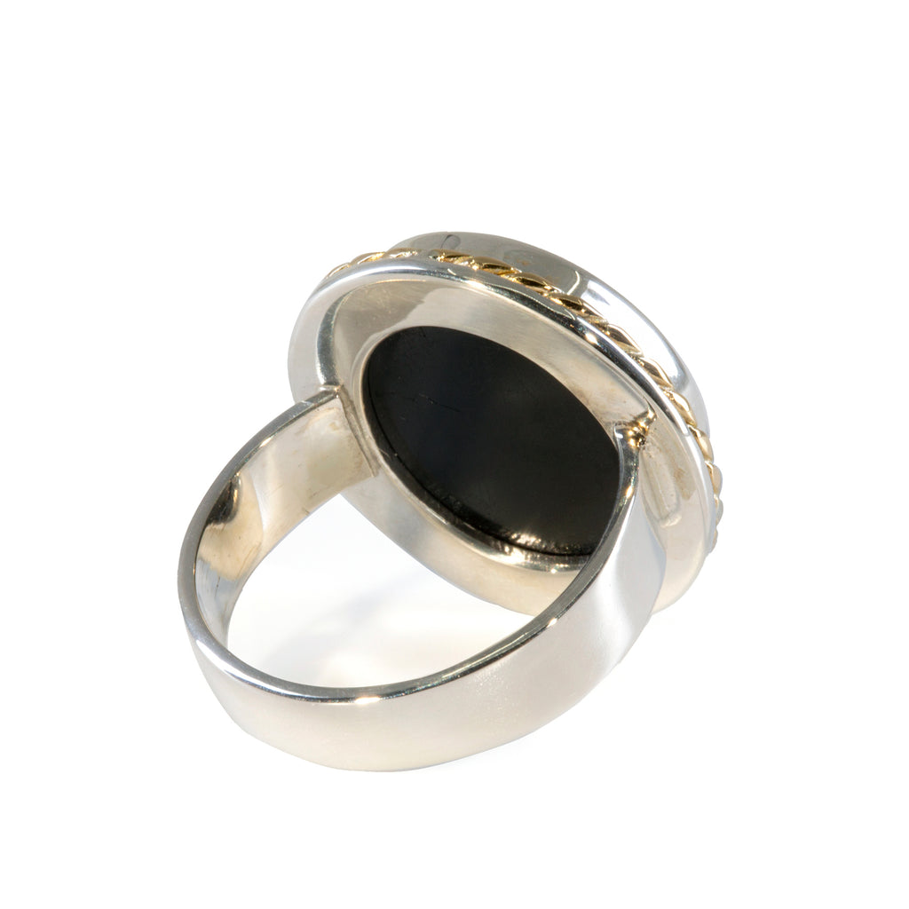 Black Tourmaline 39.23 carat Handcrafted Sterling Silver with 14k Accent Ring