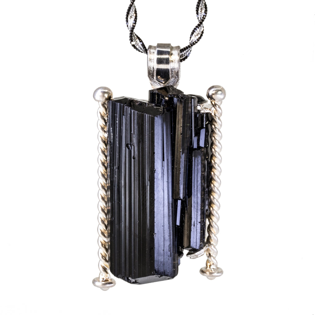 "Black Tourmaline 121.5 carat ""Parthenon "" Handcrafted Sterling Silver Pendant with Chain"