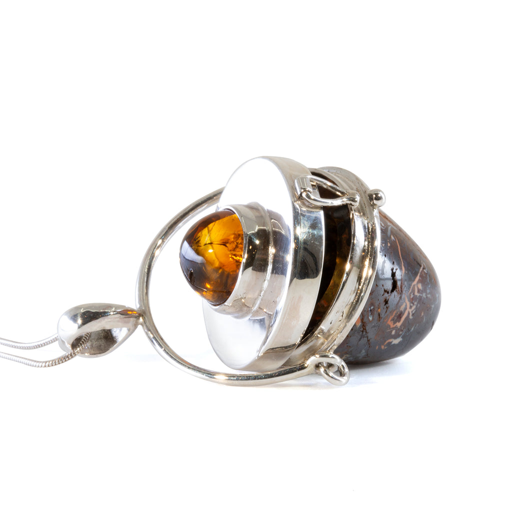 Boulder Opal 52.11 carat with 7.81 carat Citrine Handcrafted Sterling Silver Vessel Pedant