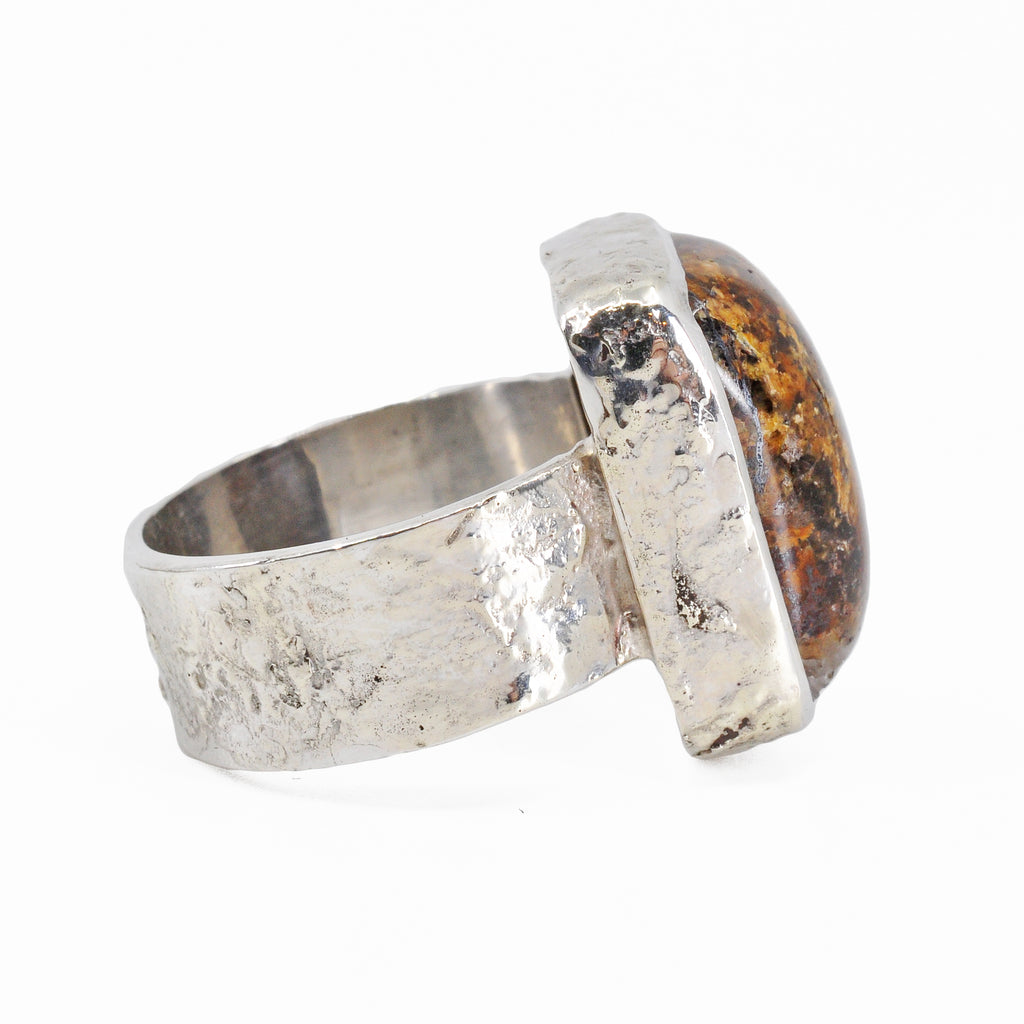 Bronzite Cabochon Sterling Silver Handcrafted Gemstone Ring