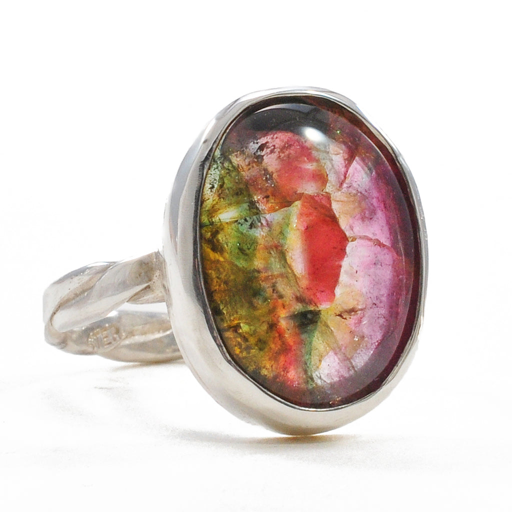 Bi-Color Pink and Green Tourmaline 16.09 mm 7.12 ct Oval Cabochon Sterling Silver Handcrafted Ring