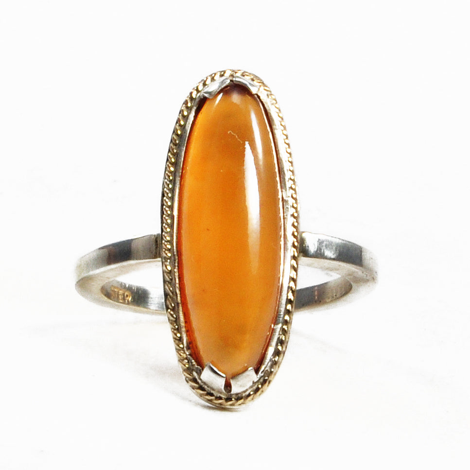 Hessonite Garnet 7.84 ct 20.96 mm Cabochon Sterling Silver and 14K Handcrafted Gemstone Ring