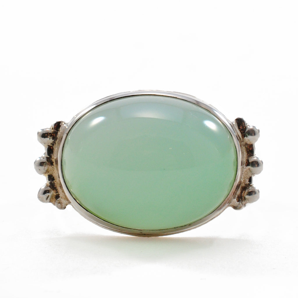 Blue-Green Chrysoprase 16.03 mm Oval Cabochon Sterling Silver Handcrafted Ring
