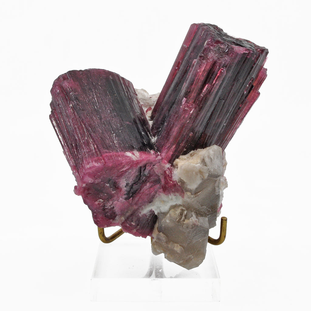 Gemmy Rubellite Tourmaline 4.2 inch 1.6 lbs with Smoky Quartz Natural Gem Crystal Cluster