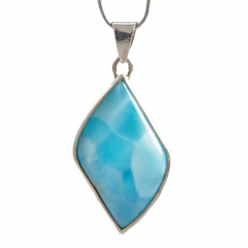 Larimar 28.64 mm 18.17 ct Polished Cabochon Sterling Silver Handcrafted Pendant