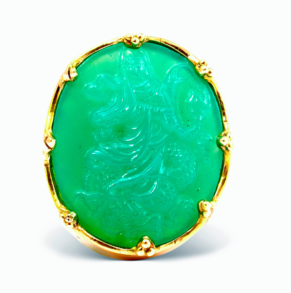 Chrysoprase 20.62ct Carved Quan Yin 14k Handcrafted Gemstone Ring