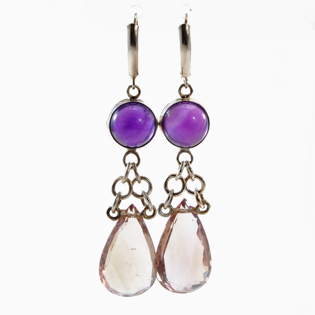 Amethyst with Ametrine Sterling Silver Handcrafted Dangle Earrings