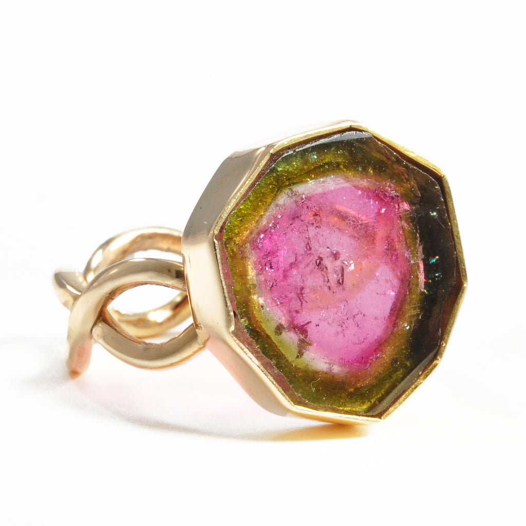 Watermelon Tourmaline 17.52 mm 8.16 ct Natural Crystal Slice 14K Handcrafted Gemstone Ring