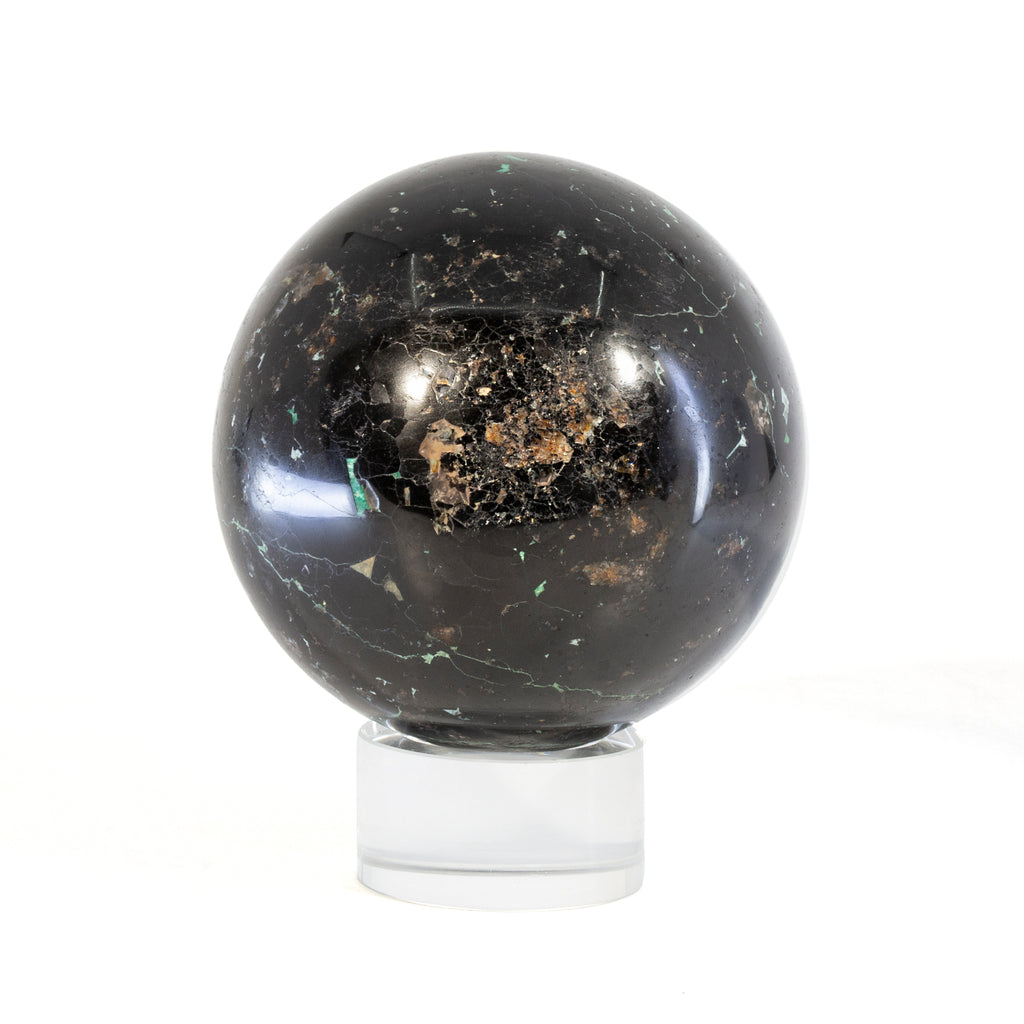 Black Tourmaline with Chrysocolla 3 inch 1.67lb Polished Crystal Sphere - Peru