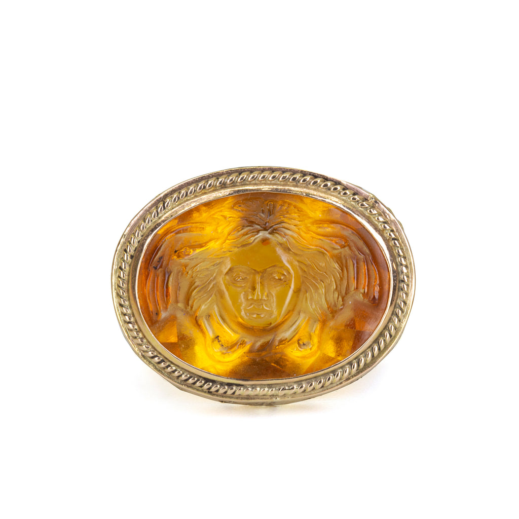 Citrine 14.37ct Carved Mercury Handcrafted 14k Gemstone Ring