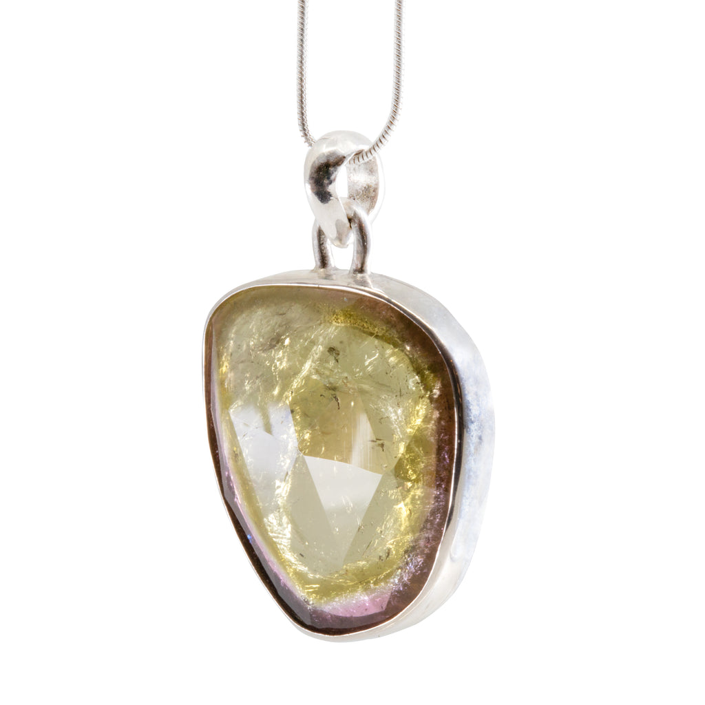 Green and Pink Faceted Watermelon Tourmaline Handcrafted Sterling Silver Pendant
