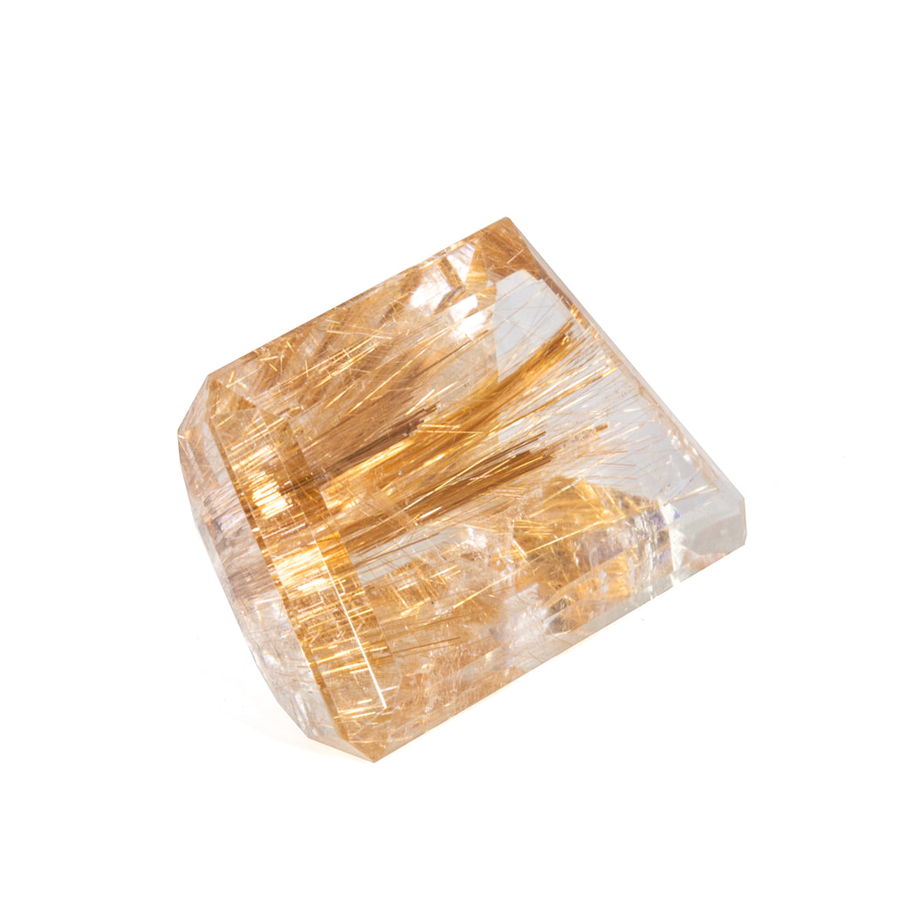 Rutilated Quartz 59.5 carat Asymmetrical Faceted Gemstone