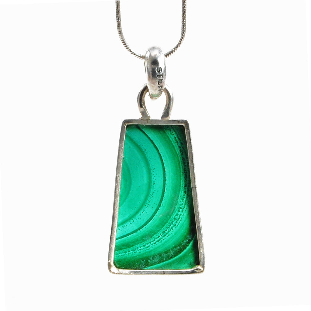 Malachite 23.14 mm 24.08 ct Cabochon Handcrafted Sterling Silver Pendant