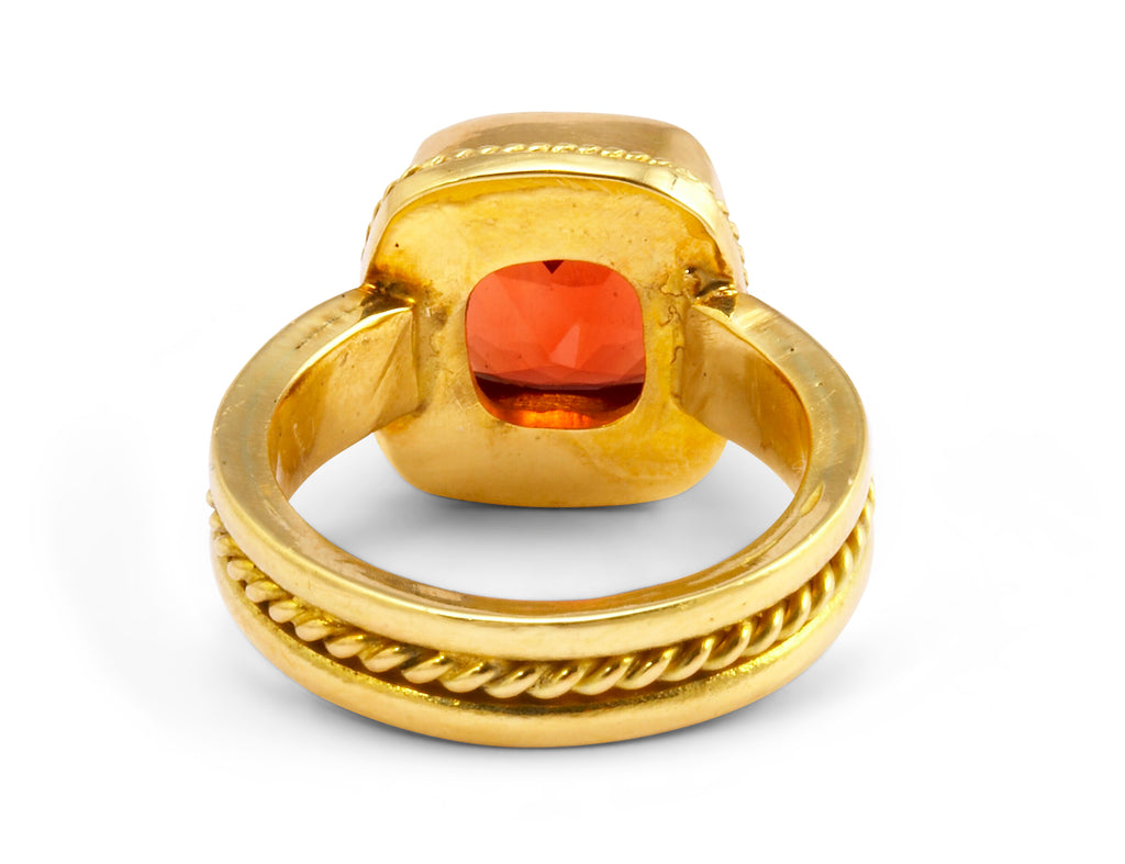 Faceted Oregon Sunstone 3.28ct Handcrafted 18kt Gemstone Ring