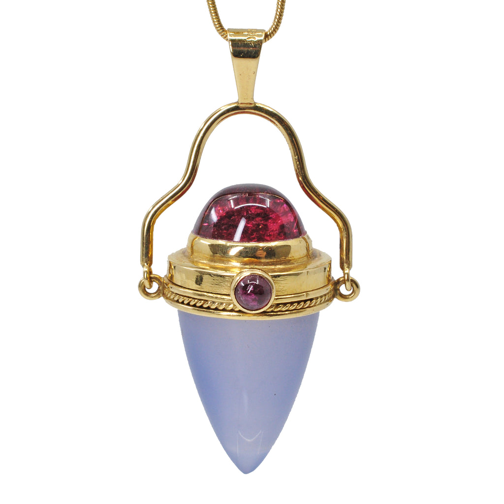 Chalcedony and Rubelite Tourmaline 18k Handcrafted Vessel Pendant
