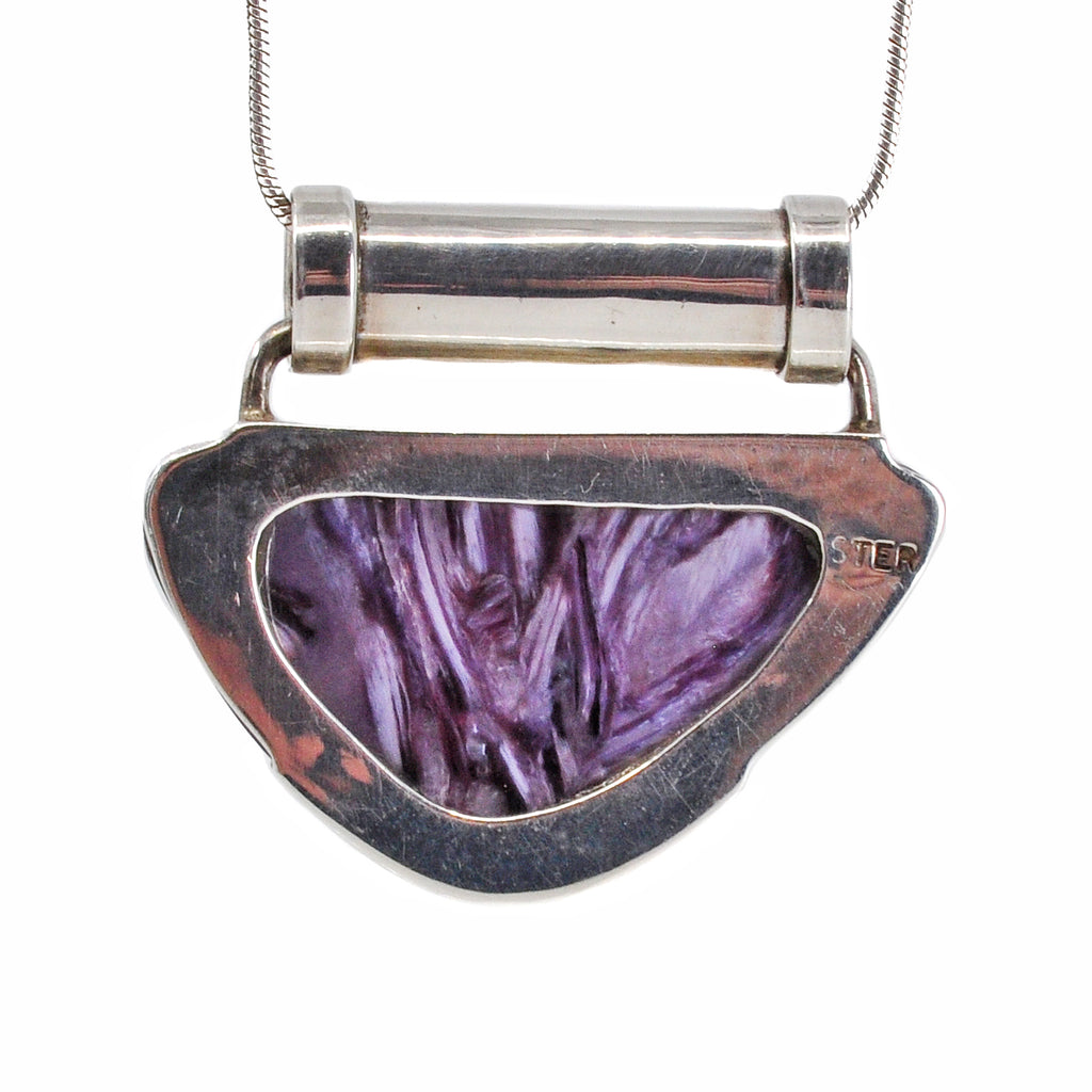 Charoite 28.63 mm 21.90 carats Irregular Cabochon Sterling Silver Handcrafted Tube Pendat