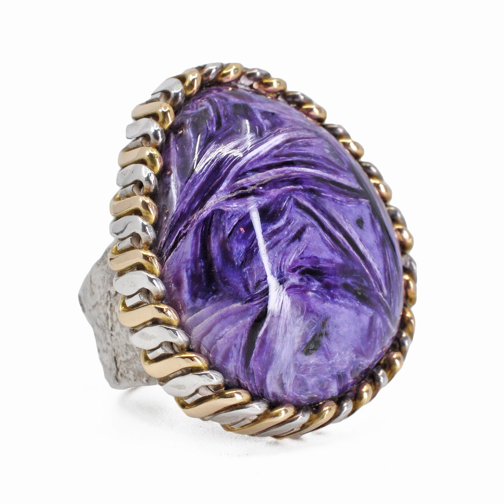 Charoite 25.41 mm 27.08 carats Polished Cabochon Sterling Silver with 14K Handcrafted Russian Bezel Ring