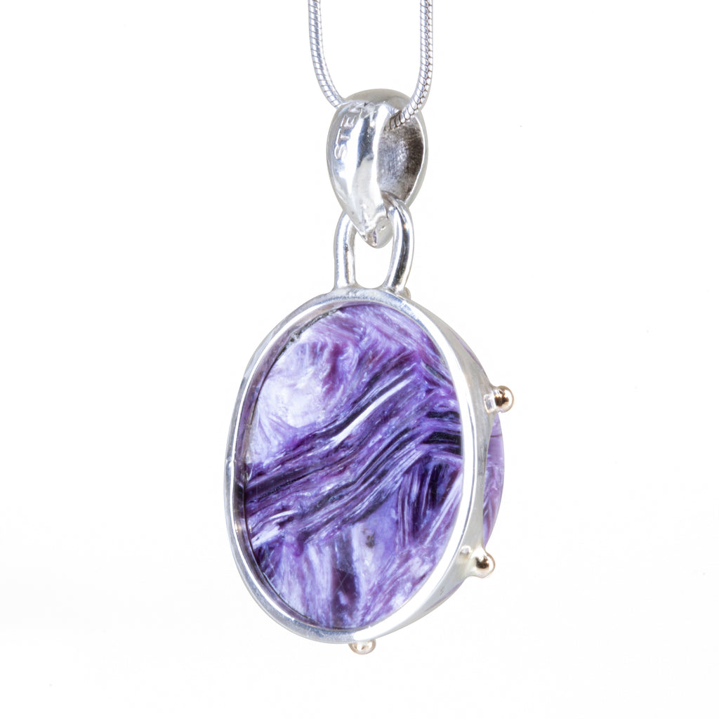 Charoite 20.65 carat Cabochon Handcrafted Sterling Silver Crown Pendant