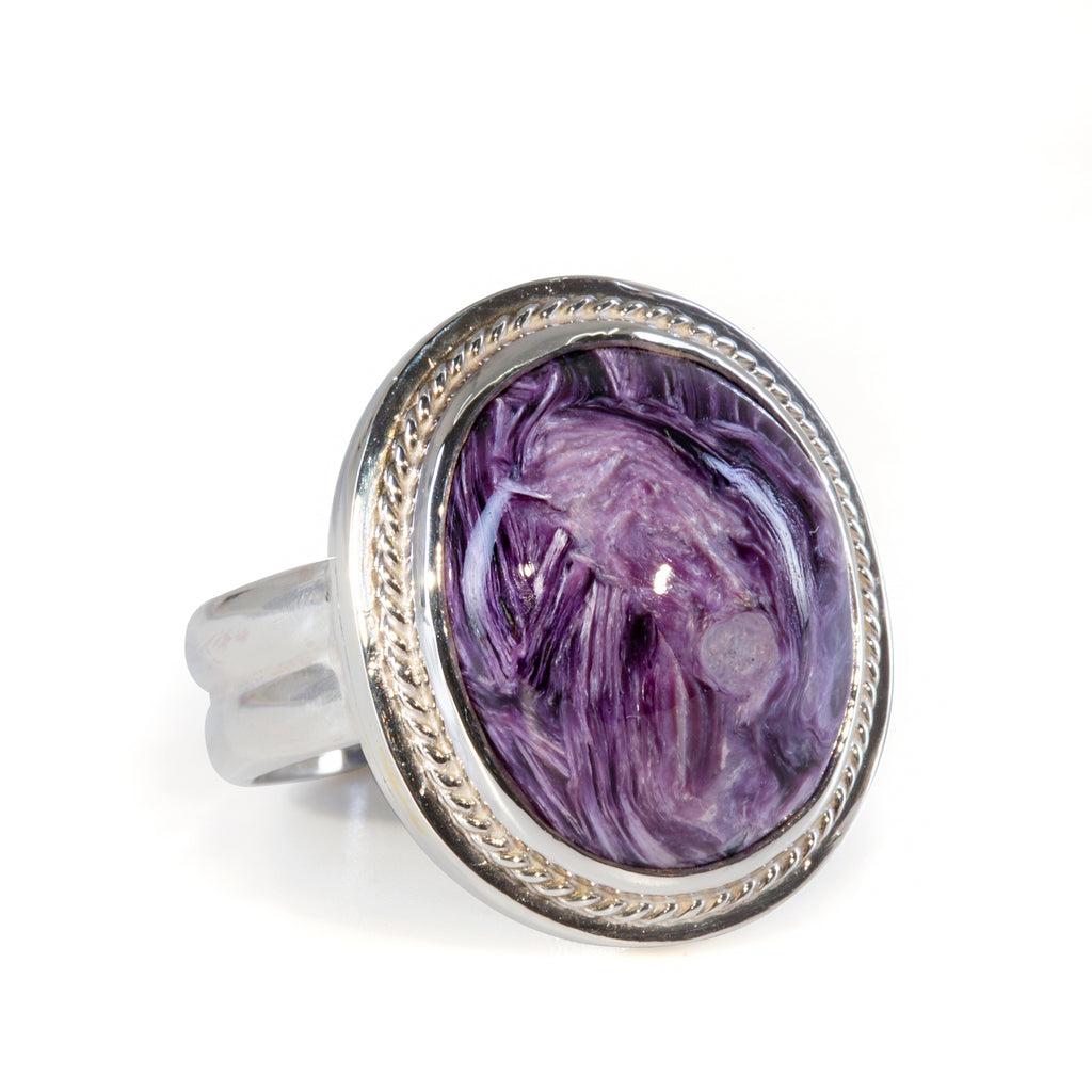 Charoite 22.43 carat Cabochon Sterling Silver Handcrafted Double Band Ring