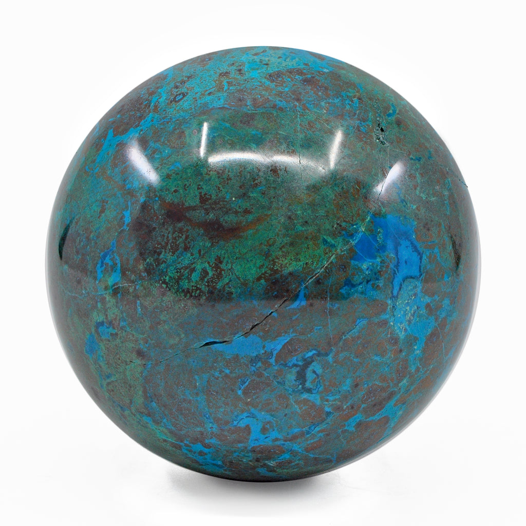 Chrysocholla with Malachite 3.69 inch 2.84 lbs Natural Crystal Polished Sphere