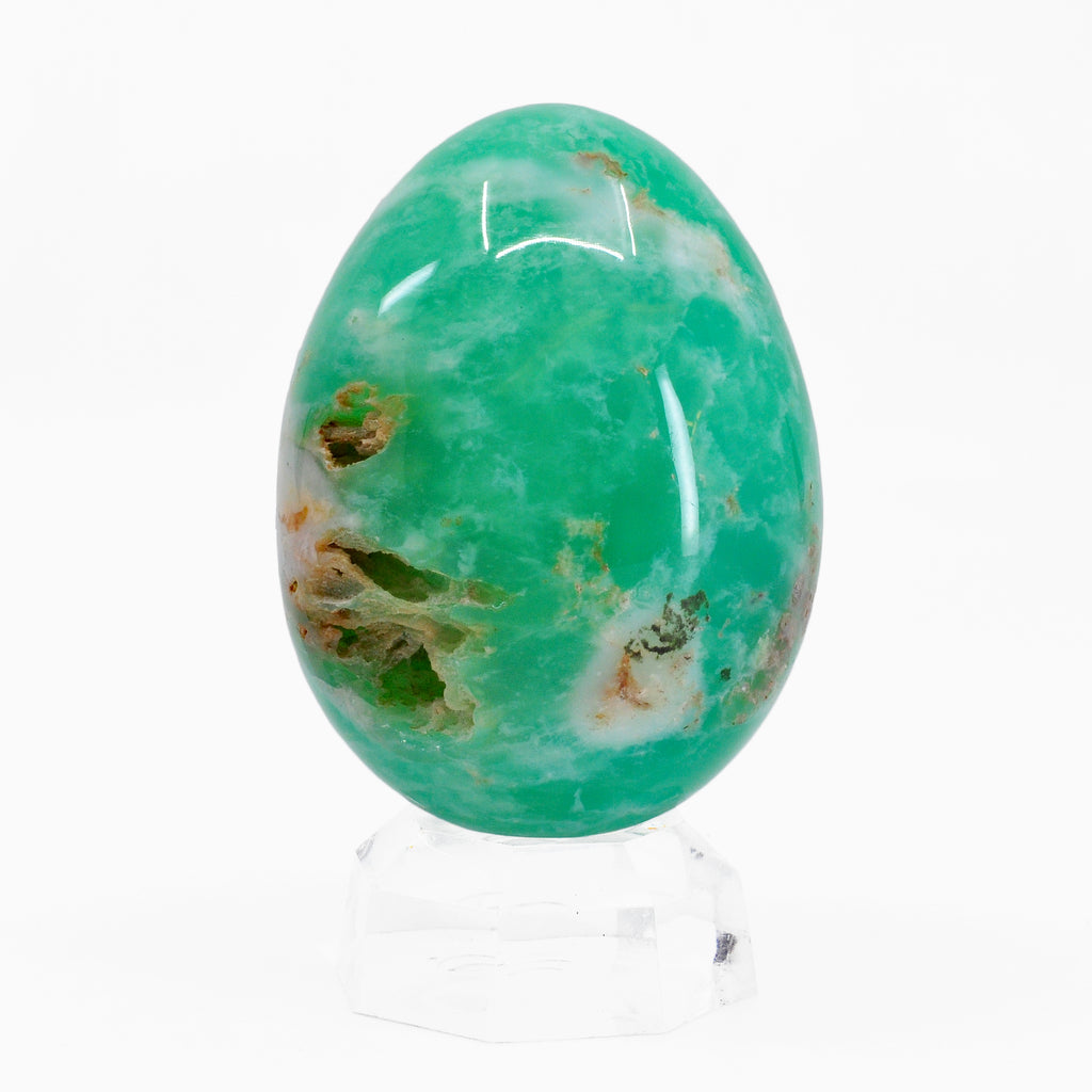 Chrysoprase 2.42 inch 137.7 grams Natural Crystal Partial Polished Gemstone Egg - Kazakstan