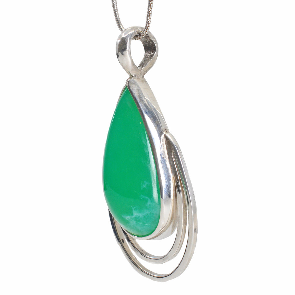 Chrysoprase 23.49 mm 13.56 carats Teardrop Cabochon Sterling Silver Handcrafted Pendant