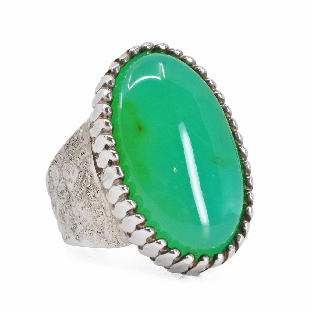 Chrysoprase 24.43 mm 19.62 carats Oval Cabochon Sterling Silver Handcrafted Russian Bezel Ring