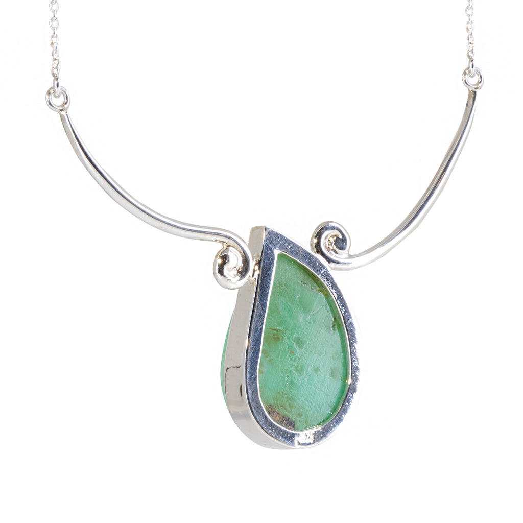 Chrysoprase Carved Wave 33.41 carat Handcrafted Sterling Silver Necklace