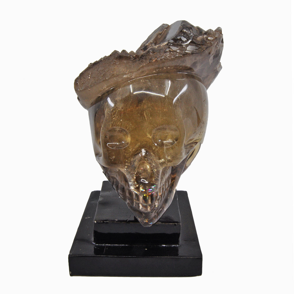 Smoky Citrine 6.0 inch 5.3 lbs Natural Crystal Partial Carved Elestial Skull on Custom Metal Swivel Stand - Brazil