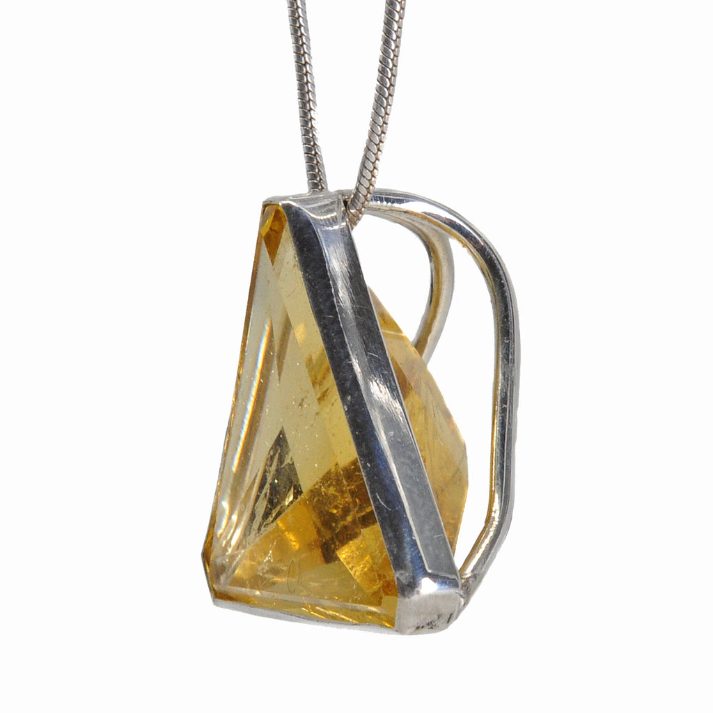 Citrine 16.25 mm 9.01 carats Faceted Triangle Sterling Silver Handcrafted Pendant