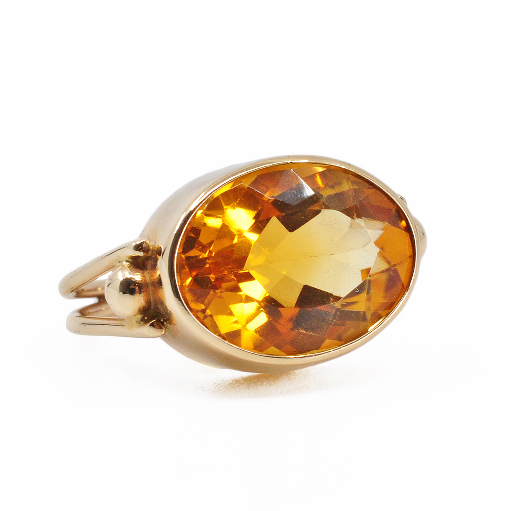 Brilliant Citrine 15.8 mm 8.63 ct Faceted Oval 14K Handcrafted Gemstone Ring