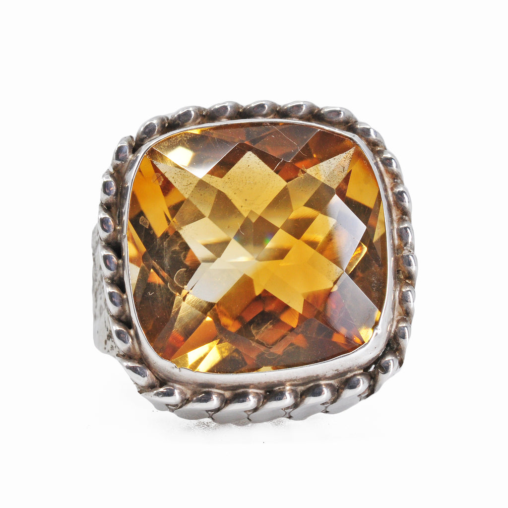 Citrine 16.45 mm 15.02 carats Faceted Cushion Sterling Silver Handcrafted Gemstone Ring