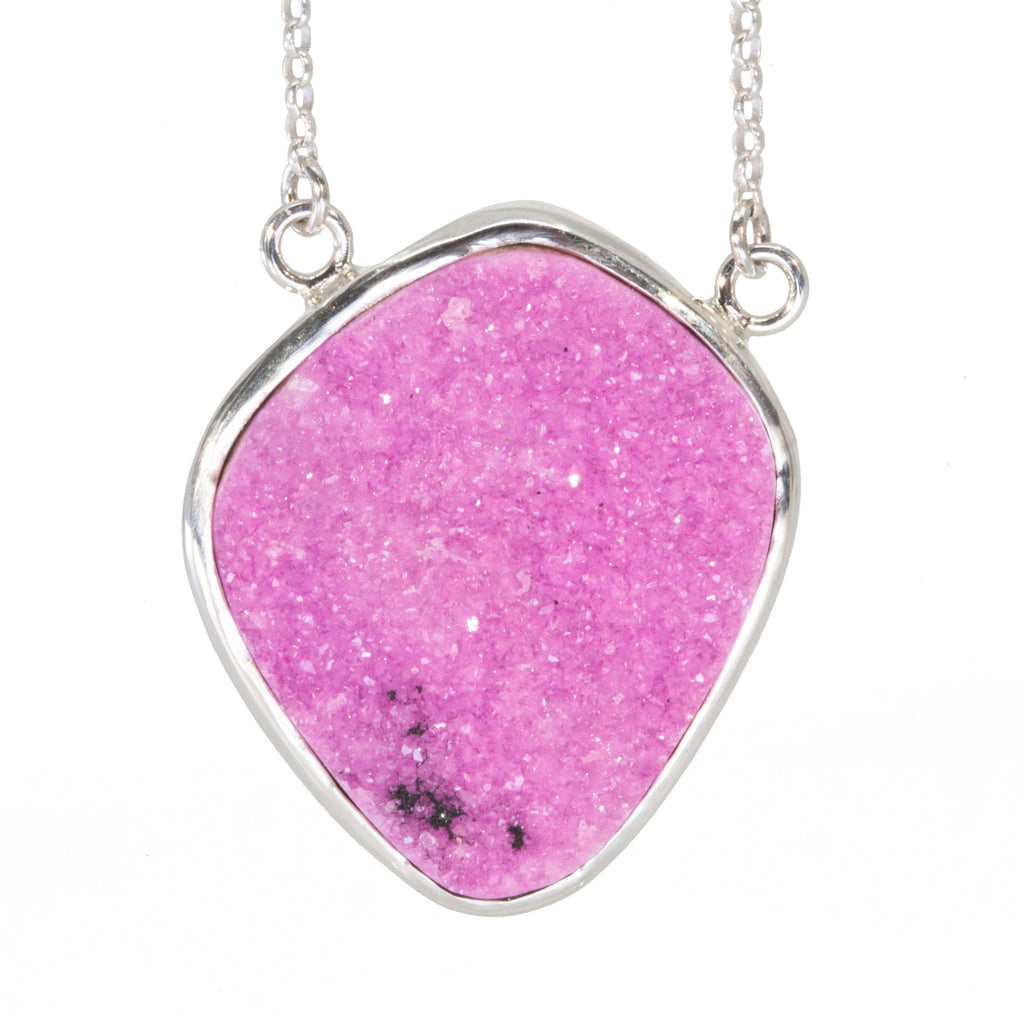 Cobalt Calcite 24.95ct Druzy Crystal Handcrafted Sterling Silver Necklace