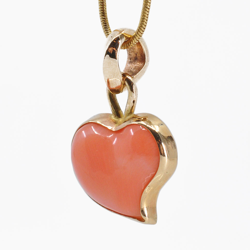 Pink Coral 14.08 mm 4.47 carats Heart Cabochon 14K Handcrafted Gemstone Pendant