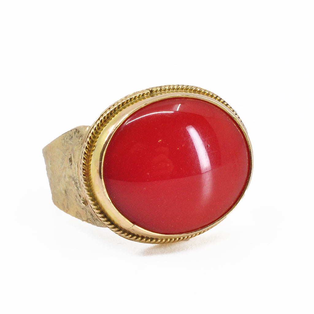 Red Coral 18.96 mm 10.76 ct Oval Cabochon 14K Handcrafted Gemstone Ring