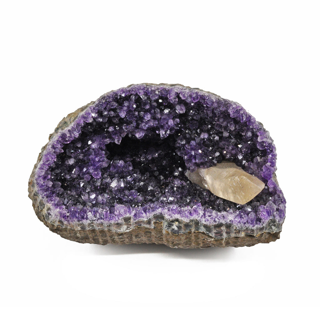 Amethyst 7.0 inch 5.0 lbs with Calcite Natural Crystal Geode - Uruguay