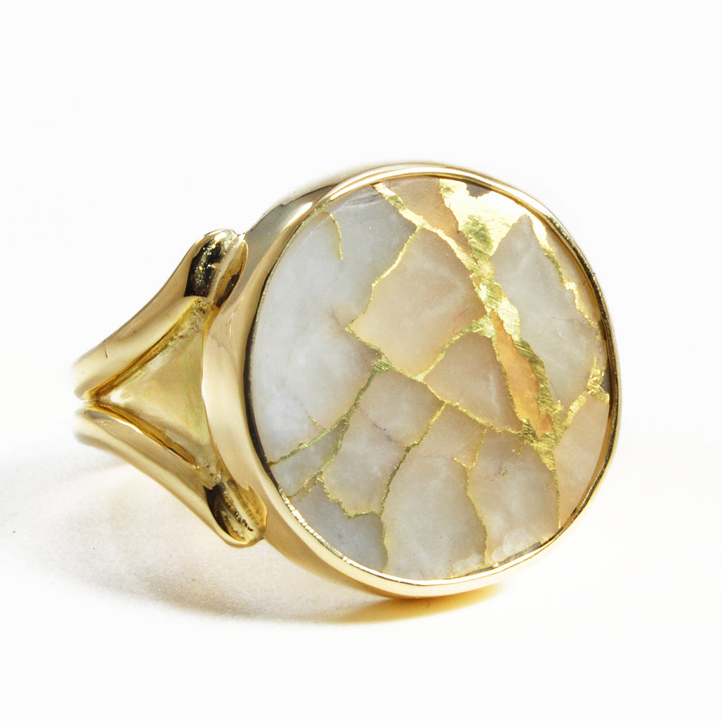 Gold in Quartz 17.78 mm 15.41 carats Natural Crystal Round Cabochon 18K Handcrafted Gemstone Ring