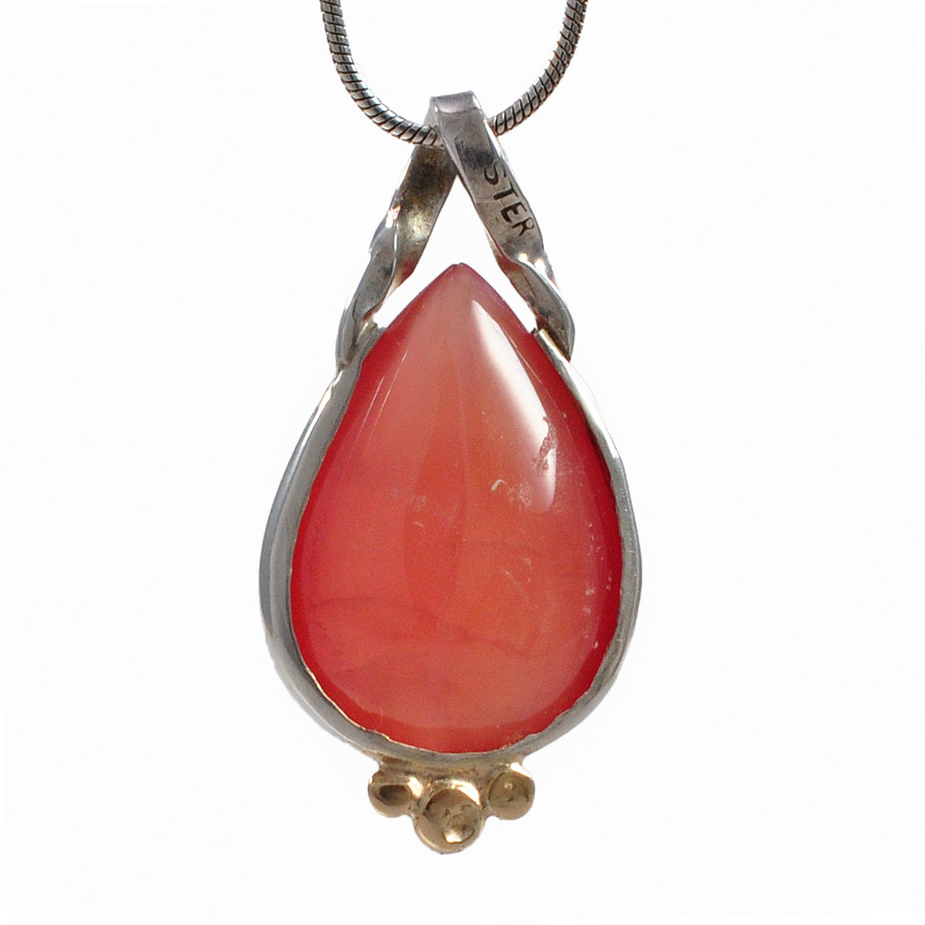 Rhodochrosite 16.86 mm 14.4 ct Tear Drop Sterling Silver with 14K Handcrafted Gemstone Pendant