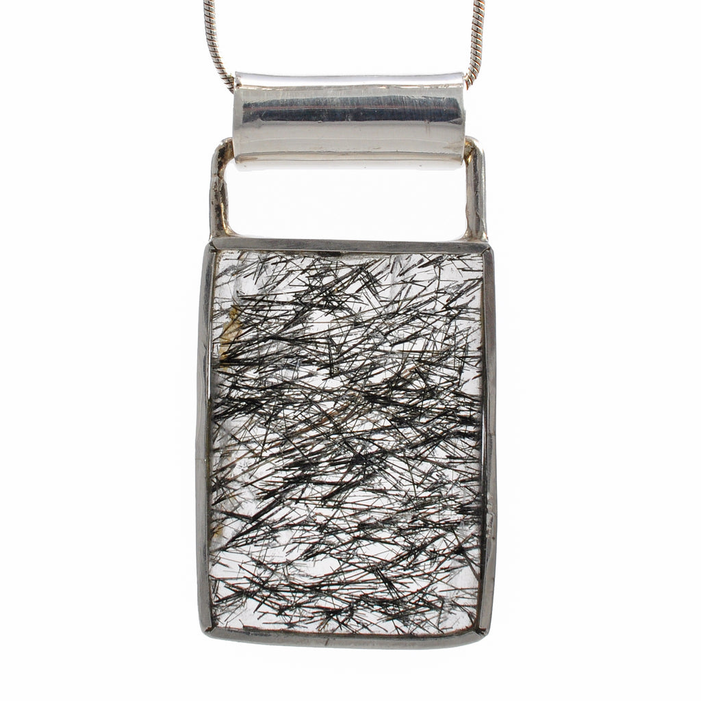 Tourmaline in Quartz 25.57 mm 21.61 ct Faceted Rectangle Sterling Silver Handcrafted Gemstone Pendant